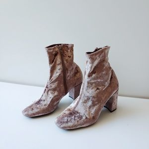 Jeffrey Campbell Pink Crushed Velvet Ankle Booties